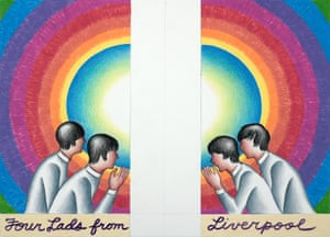 A study for Four Lads from Liverpool 2017, Judy Chicago's Beatles mural.