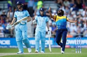 Malinga celebrates taking the wicket of Jos Buttler.