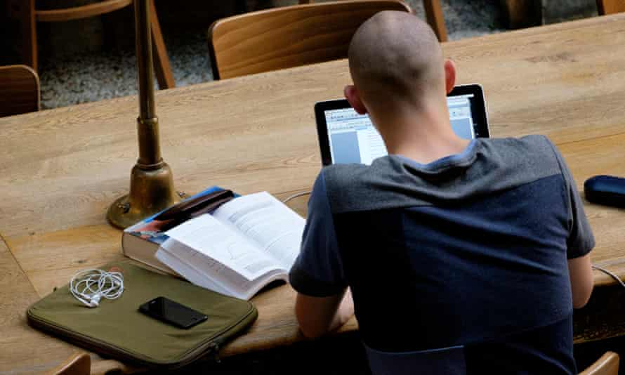 Overhead view of a student studying