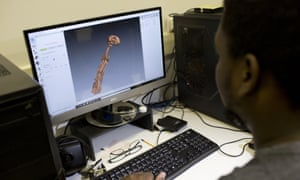 A 3D scan of the bones of the Egyptian cat mummy is displayed on a computer screen at the Pontifical Catholic University in Rio de Janeiro. About 300 pieces of the Brazil's National Museum that were scanned and some printed in 3D, could help to rebuild part of the heritage lost in the fire.
