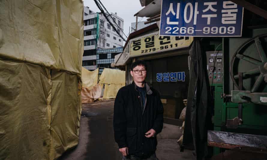 Kim Hak-ryool, 61, in front of his workshop in Euljiro, Seoul.