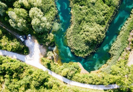 Tirino River in Abruzzo, Southern Italy. Aerial view