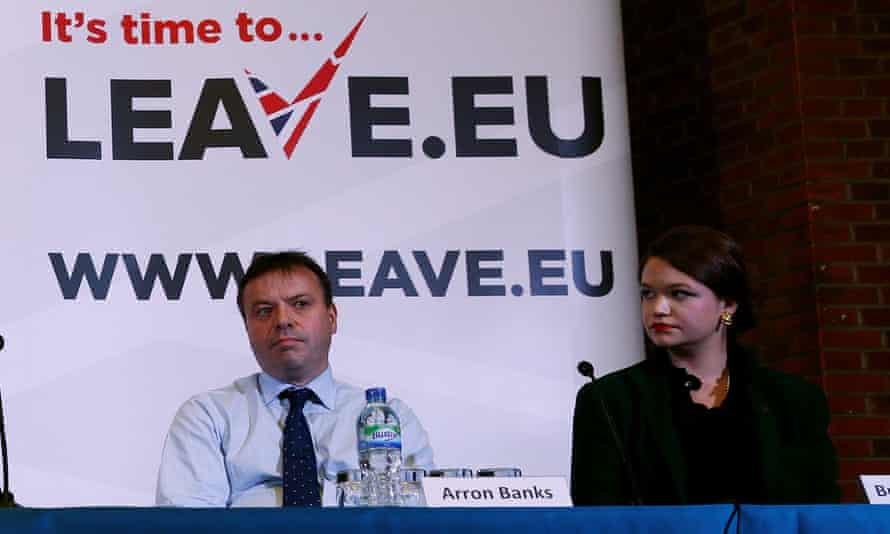 Arron Banks, co-founder of Leave.EU, and Brittany Kaiser of Cambridge Analytica, during a Leave.EU news conference in 2015.