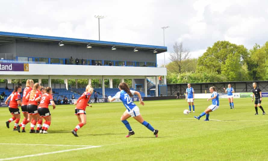 Sarah Mayling scores Birmingham's third goal against Southampton at Damson Park during their 3-2 FA Cup fifth round win in May