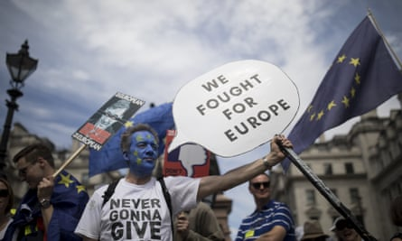 Protesters take part in the People's Vote demonstration against Brexit in London in June.