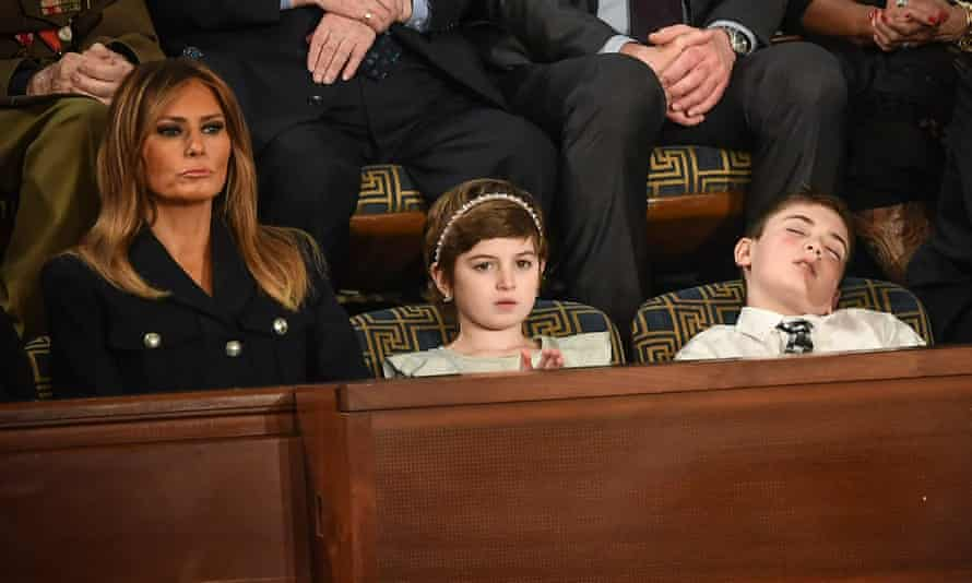Joshua Trump (right) during the State of the Union address with fellow special guest Grace Eline and Melania Trump