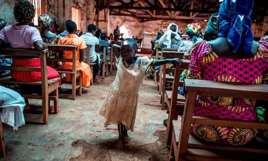 Congolese girl in a church