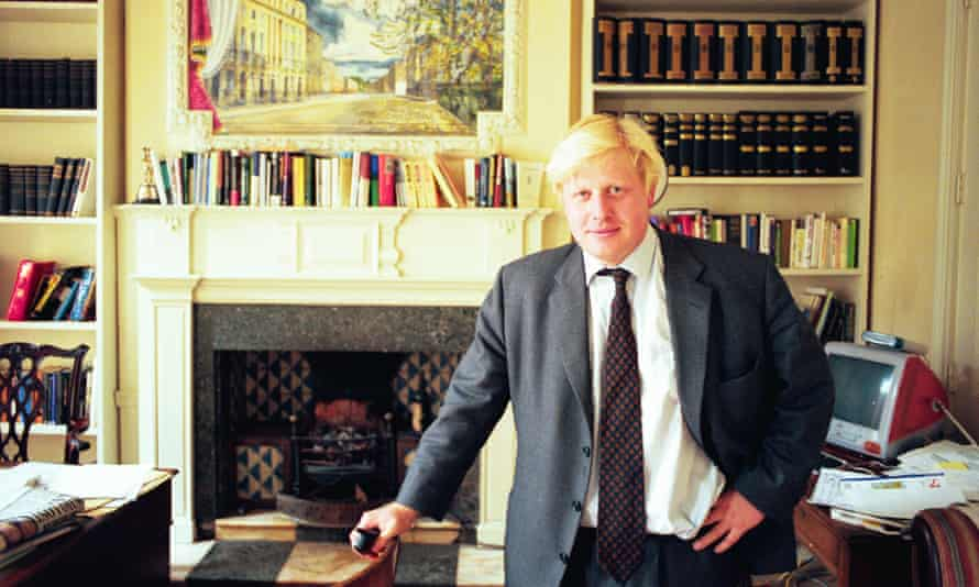 Boris Johnson in his office at the Spectator