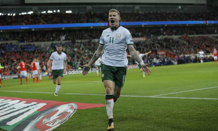 James McClean celebrates after scoring the winner for Republic of Ireland in Cardiff.