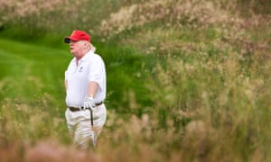 Trump on the Trump International Golf Course in Aberdeenshire, Scotland. It is estimated the US president has chalked up 35 golf outings since taking office.