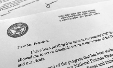 Jim Mattis's resignation letter to Donald Trump – in full