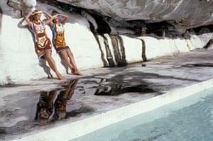 Joy and Sue Smithers wearing Kee's Cretan Snake Goddess knitwear, 1981.