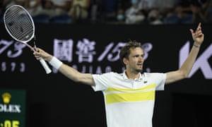 Daniil Medvedev is through to face Novak Djokovic in Sunday's final.