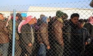 Syrians fleeing the conflicts in the Azaz region at the Bab al-Salam border gate last week.