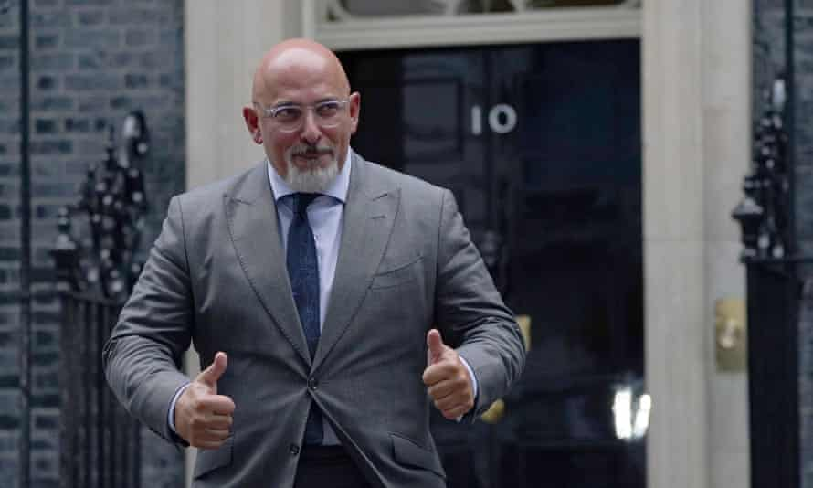Nadhim Zahawi leaving 10 Downing Street after being named as the new education secretary.