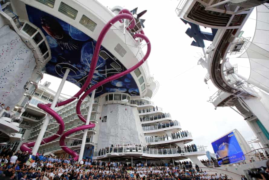 The giant waterslide seen on the Harmony of the Seas.