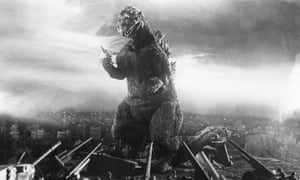 A still from the 1954 film Godzilla.
