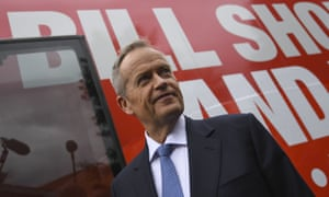 Bill Shorten standing outside his campaign bus in Sydney.