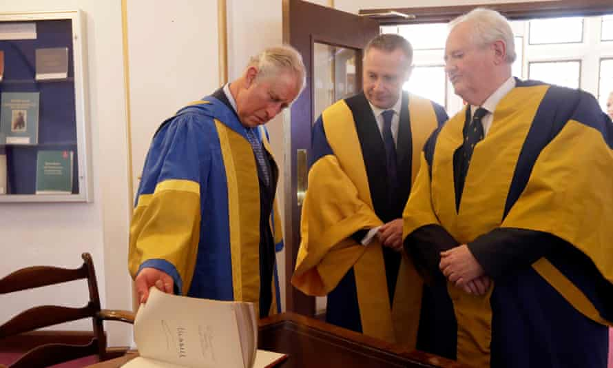 Prof Colin Lawson, the director of the the Royal College of Music, right, with Prince Charles, left, on Wednesday.