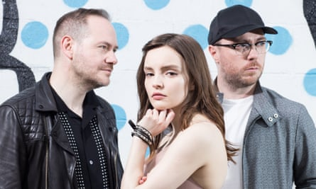 Iain Cook, Lauren Mayberry and Martin Doherty of Chvrches in Bushwick, New York.
