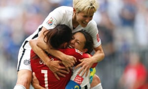 Hope Solo, Megan Rapinoe and Carli Lloyd celebrate a goal during the 2015 World Cup final