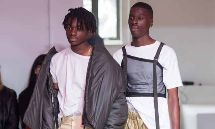 Models wearing Bianca Saunders' designs.