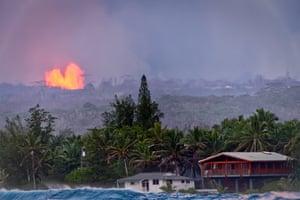 The eruption seen from the Kapoho coast in Pahoa, Hawaii.
