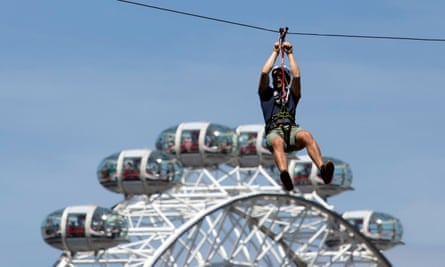 Rider takes a trip on Zip World Southbank's zip wire ride near Waterloo, London.