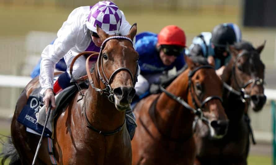 Kevin Manning and Poetic Flare had just enough to hold off the rest in the 2,000 Guineas at Newmarket