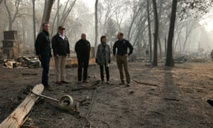 Donald Trump meets with officials, including Fema chief Brock Long, right, after fires devastated Paradise, California.