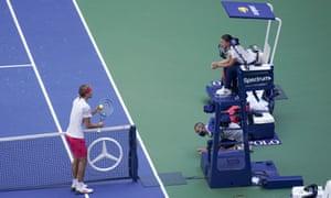 Alexander Zverev pleads his case to the match umpire, Eva Asderaki.