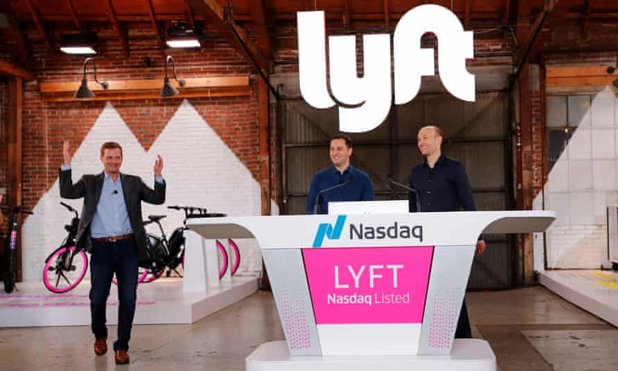 Lyft's president, John Zimmer, and the CEO, Logan Green, at an IPO event in Los Angeles, California on 29 March.
