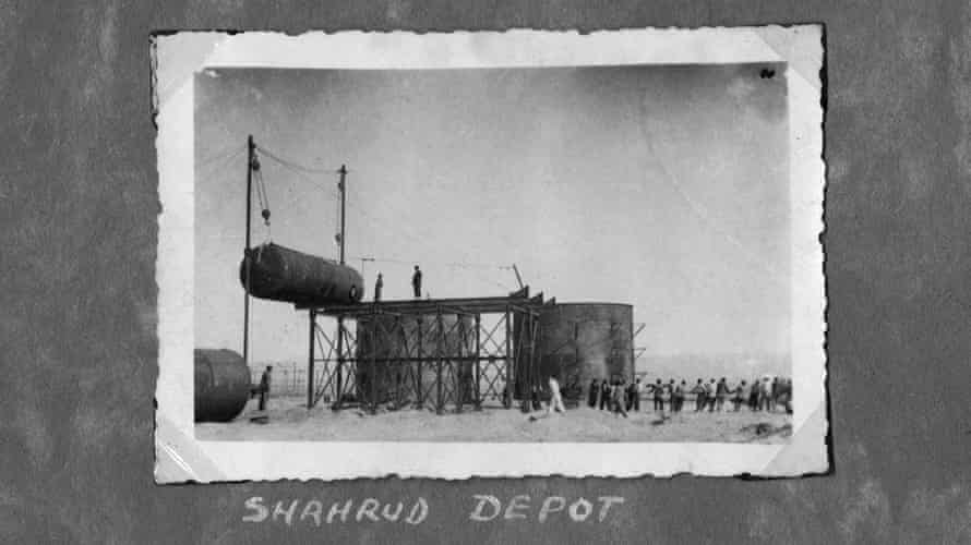 Workers hoisting a tank at Shahrud Depot 1936-1943.