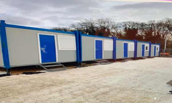 Portable buildings seen at the Yarl's Wood site.