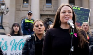 Sissy Austin speaks at a rally in Melbourne