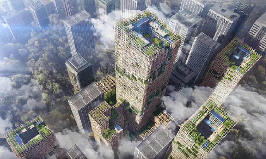 Artist's rendering of a proposed 70-storey wooden tower for Tokyo.
