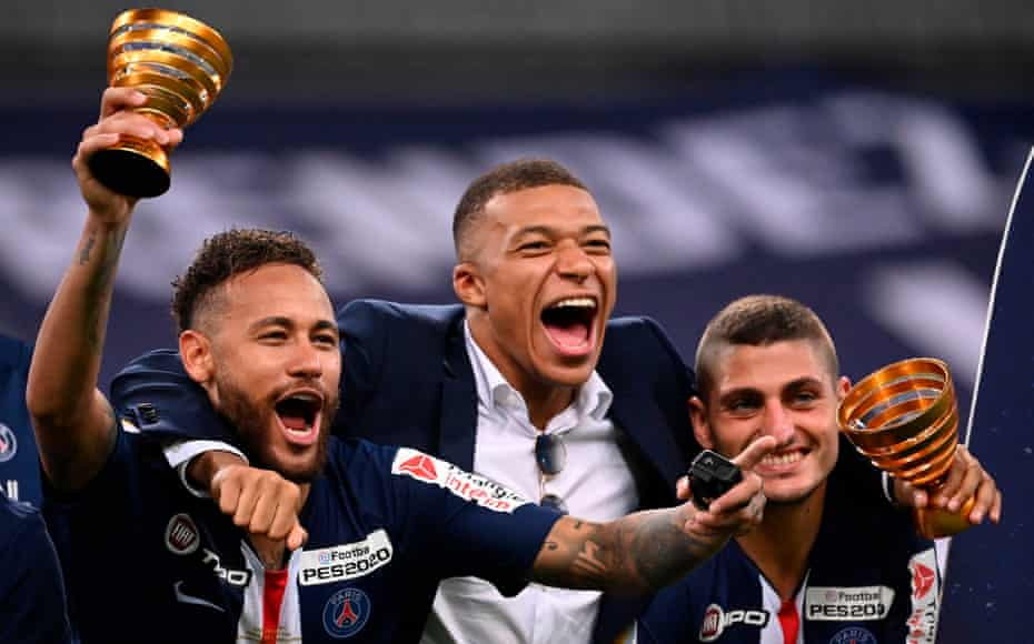 Neymar, Kylian Mbappe and Marco Verratti celebrate after winning the Coupe de la Ligue.