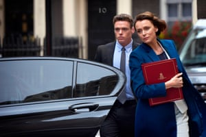 Richard Madden as protection officer David Budd and his charge Julia Montague (Keeley Hawes) in Bodyguard.