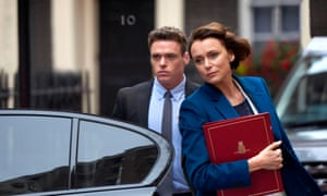 Richard Madden as David Budd and Keeley Hawes as the home secretary, Julia Montague.