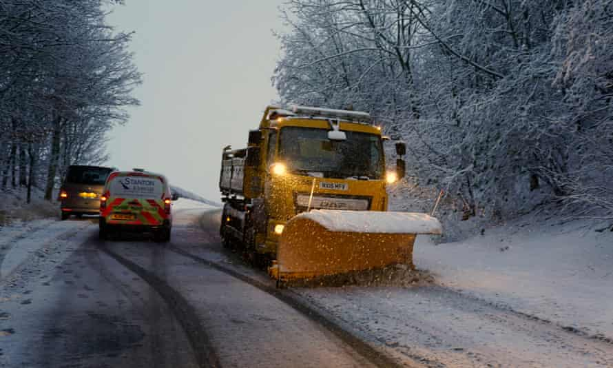 A snow plough on the A69 in Stocksfield near Newcastle