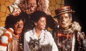 Michael Jackson as Scarecrow, Ted Ross as Lion, Diana Ross as Dorothy and Nipsey Russell as Tinman in The Wiz, 1978