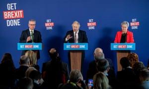 Boris Johnson speaking at a press conference alongside Michael Gove (left) and Gisela Stuart.