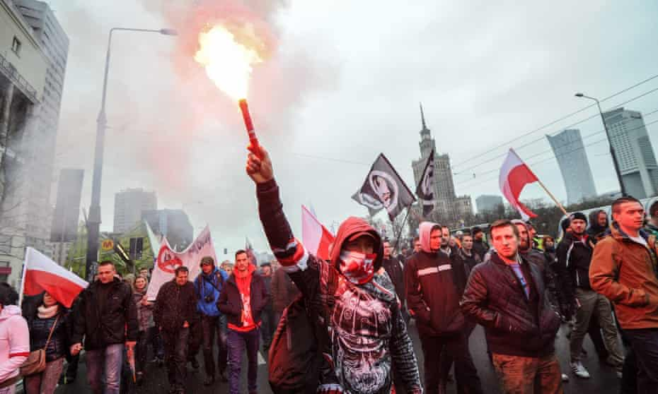 A 'Poles against migrants' rally in Warsaw.