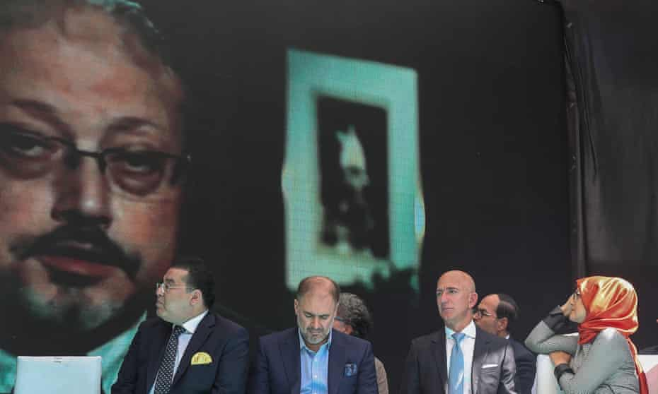Jeff Bezos, third from left, with Jamal Khashoggi's fiancee, Hatice Cengiz (right) at an event in Istanbul to mark one year since the journalist's murder.