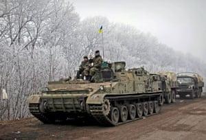 Members of the Ukrainian armed forces are seen not far from Debaltseve, Ukraine
