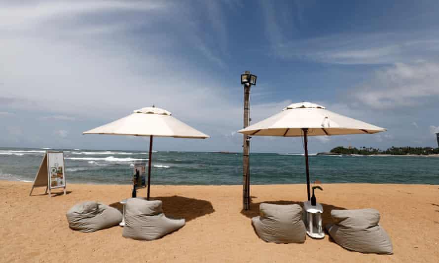 An empty beach seen at Unawatuna beach in Galle, Sri Lanka