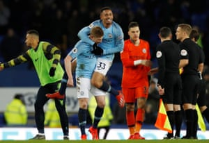 Manchester City's Gabriel Jesus and Kevin De Bruyne celebrate after the match.