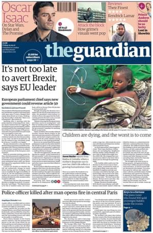Guardian front page, 21 April 2017