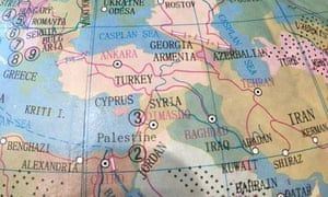 The map sold by Australian stationary chain Typo, which named Palestine but omitted Israel.