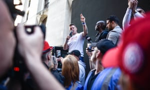 Tommy Robinson speaks to supporters outside the Old Bailey in London this month.
